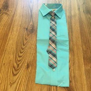 Dress Shirt W/Matching Tie NWT Handsome Aqua Sz14